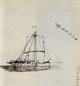Sketch of  the Mignonette by Tom Dudley (1853-1900)